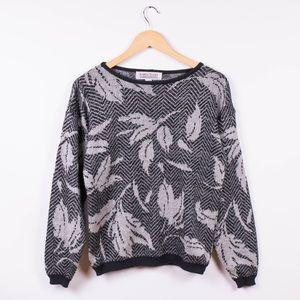 Vintage 80s silver metallic lurex knit sweater